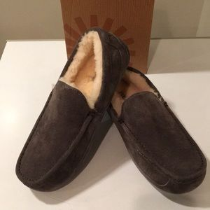 🔥New Ugg Ascot Moccasin charcoal suede slippers